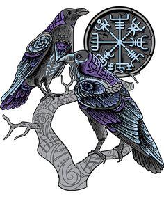 Odin's ravens Shirt viking celtic Huginn Muninn Art Print by WWB - X-Small Celtic Raven Tattoo, Viking Warrior Tattoos, Norse Tattoo, Avatar Tattoo, Norse Runes, Sketch Tattoo Design, Raven Art, Tattoo Graphic, Tattoo Project