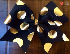 Cheer Bow Black with Gold Polka Dots by FullBidBows on Etsy Would love it even more if it was maroon Cute Cheer Bows, Cheer Mom, Cheer Stuff, Cheer Pics, Volleyball Bows, Cheerleading Bows, Cheer Coaches, Cheer Hair, Cheer Dance