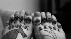 Think Less - sorry pic cut off - iPad at it's finest lol Toe Tattoos, Knuckle Tattoos, Finger Tattoos, Sick Tattoo, Beard Tattoo, Tattoo You, Tattoo Quotes, Tattoo Pics, Piercing Tattoo