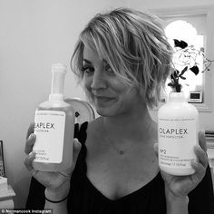 Pampering herself: The former 8 Simple Rules actress showed off her hair products on Sunda...