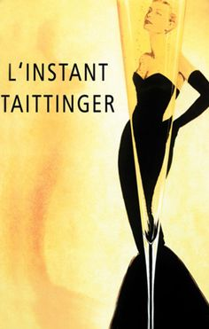 "Taittinger, a French wine house, raises a toast to Grace Kelly in this vintage promotional poster. Originating in Reims in 1734, Taittinger corks are now popped in more than 120 countries around the world. After appearing on the cover of ""Vogue,"" Taittinger's vintage posters were recognized as works of art."