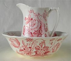 Red Transfer Ware Pitcher and Bowl Basket of Flowers Roses Charlotte. $59.99, via Etsy.