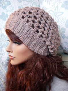 Taupe Tweed Slouchy Hat, still a manequinn but I love this one too!