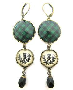 Scottish Tartan Jewelry - Ancient Romance - Rob Roy MacGregor Tartan Robin Hood Tartan Earrings with Thistle Charms by DivaDesignsInc on Etsy