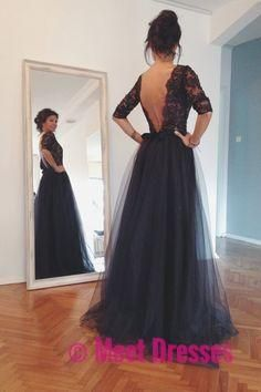 Black Prom Dresses,Backless Long Prom Dresses,Tulle Formal Dress,Prom Gowns With Lace,Half Sleeves Prom Gown PD20185261