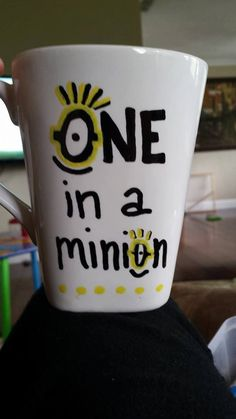 Handpainted WHITE coffee mug - Despicable Me - Minion Coffee Mug - SO CUTE! by CNECrafts on Etsy