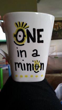 Handpainted WHITE coffee mug - Despicable Me - Minion Coffee Mug - SO CUTE! by CNECrafts on Etsy