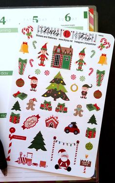 Christmas Stickers, Fits Erin Condren and other Planners, Planner Stickers, Kiss Cut, Life Planner Stickers, Scrapbooking by LillyTop on Etsy https://www.etsy.com/listing/246878929/christmas-stickers-fits-erin-condren-and