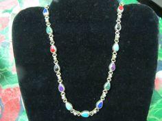 Vintage 925 Silver Mexico Milti. colored Stone Necklace