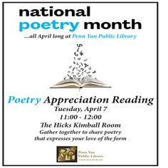 April 7, 2015: In honor of National Poetry Month, gather together to share the pieces that reflect your love of the form.  All are welcome to attend and share a few poems at this free event; no registration is required.