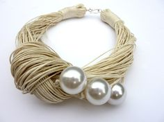 "3 pearls & linen thread necklace by ""Cynamonn"" on Etsy"