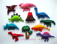 Felt Dinosaurs - Magnet Dinosaurs , Fridge magnets , Baby toy , Kids felt magnet on Etsy Craft Projects, Sewing Projects, Projects To Try, Felt Patterns, Dinosaur Party, Felt Toys, Felt Art, Felt Ornaments, Felt Animals