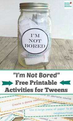 Kick boredom to the curb this summer, with free printable I'm Bored activities and projects for tweens. Your older kids will find engaging activities. to do when bored I'm Bored Jar Activities for Tweens - Free Printable Diy Crafts For Teen Girls, Diy Crafts To Do, Diy Projects For Kids, Older Kids Crafts, Craft Projects, Craft Ideas, Jar Crafts, Kids Diy, Diy For Teens