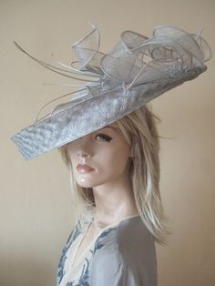 Silver Grey Saucer Fascinator with Feathers Arrangement Ascot Hat Hire