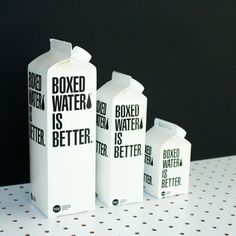 Boxed water, cylinder, beverage and drink Rachel Morris, Boxed Water Is Better, Plastic Alternatives, Water Company, Box Water, Water Well, Beverages, Drinks, Bottle Design
