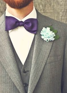 purple bow tie for the groom