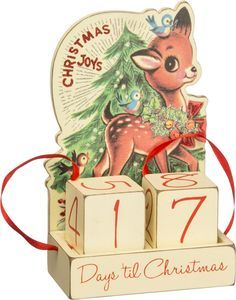 "A fun way to countdown the days to Christmas! - Wood, paper and ribbon countdown blocks. - 4.75"" x 2.88"" x 7.5"". - Retro Christmas Collection. - Imported."