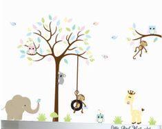 Wall Mural Stickers Nursery Tree and Birds by Littlebirdwalldecals