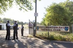 Police officers outside Old Edmontonians Football Club in Jubilee Park, Edmonton, following the fatal stabbing of a 29-year-old man. Birthday party guests attending a party at the Old Edmontonians FC clubhouse, sat on the suspected attacker until police arrived following the attack in north London, a witness has claimed. via @AOL_Lifestyle