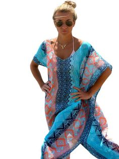 AdoreWe - milanoo.com Multicolor Print Polyester Cover Up for Women - AdoreWe.com