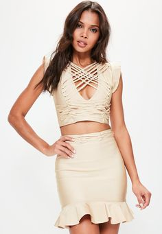 Missguided - Camel Frill Sleeve Criss Cross Bandage Crop Top
