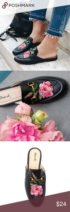 "Qupid Embroidered Loafer Mules A MODERN FAVORITE WITH A FLORAL TWIST. THESE SLIP ON LOAFER MULES ADD A STYLISH TOUCH TO YOUR MORNING COFFEE RUNS. PART LOAFER AND MOSTLY MULE, THESE FEATURE AN EMBROIDERED FLORAL, A LOW HEEL AND A SQUARE TOE. PAIR THESE WITH YOUR FAVORITE BOYFRIEND DENIM AND A CRISP WHITE BUTTON DOWN. MATERIAL: MAN- MADE, LEATHERETTE SOLE: SYNTHETIC MEASUREMENT: HEEL HEIGHT: 0.75"" (APPROX.) FITTING: TRUE TO SIZE Gucci Shoes Mules & Clogs"