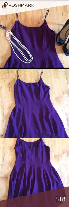 """🔴 BOGO Lovely Plum cocktail dress, size 10 Purchase higher priced item at listed price. Tag me in second BOGO listing and I will include in the same shipment at no cost! This dress has the feel of a sheer chiffon, has two layers of loose, flowing fabric, falls above the knee. Flattering neckline, spaghetti straps, zipper back, layered hemline. Perfect condition, poly. Measures bust 17 1/2"""", waist 16"""", 34"""" length. Very feminine and sexy. The color is more plum than purple, tough to capture…"""