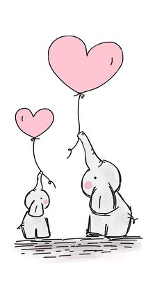 Shop Cute Heart Girl Pink Elephant Mommy & Baby Shower Classic Round Sticker created by BabyCreations. Cute Elephant Drawing, Cute Animal Drawings, Cute Heart Drawings, Elephant Doodle, Elephant Drawings, Baby Elephant Tattoo, Elephant Nursery Art, Elephant Print, Mothers Day Drawings