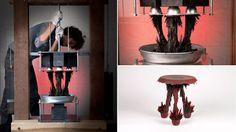 """Jolan Van Der Wiel desenvolveu uma ' máquina íman """", que posiciona campos magnéticos acima e abaixo de um recipiente de material polarizado contendo aparas de metal . A gravidade determina a forma do banco. Um incrível projeto de Jolan Van Der Wiel, intitulado de Gravity Stool."""