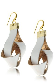 ELEANNA KATSIRA KNOTTY Light Grey Leather Earrings - ACCESSORIES | JEWELRY | Earrings | Pierced | PRET-A-BEAUTE.COM