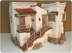 Escenografías para el Belén                                                                                                                                                                                 Más Clay Houses, Ceramic Houses, Christmas Nativity Scene, Christmas Villages, Miniature Crafts, Miniature Houses, Garden Nook, Decorative Tile, Fairy Houses