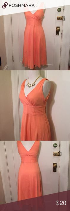 J.Crew silk chiffon Sophia sherbet orange dress This is a sherbet orange colored silk chiffon dress from J.Crew. This is a lightweight crinkle chiffon great A-line skirt silhouette comes in nicely at the waist, fitted bodice. 100% silk polyester lining, a side zipper with hook closure. Good condition minor wear. Be sure to check out other items in my closet and bundle to receive discounts. J. Crew Dresses