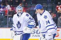 PANIC, LEAFS NATION! IT'S A GOALTENDING CONTROVERSY! Jonathan Bernier #45 and James Reimer #34, Toronto Maple Leafs (30 Oct 2013) (ilovemesomehockey.tumblr.com)
