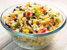 Fabulous quinoa salad!  Great as a side dish or a main dish.  The fresh mango, cilantro and jalapeno really make this salad Pop!