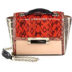 Diane von Furstenberg 440 Mini Colorblock Snakeskin-Panel Shoulder Bag (1 055 PLN) found on Polyvore
