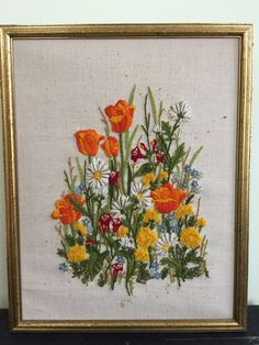 Vintage Handmade Spring Flowers Orange Tulips and Shasta Daisy Crewel Embroidery Wall Hanging