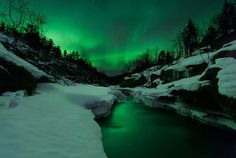 Picture of a green Aurora Borealis over Tennevik River