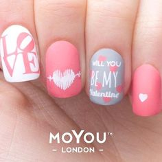 Best Valentine's Day Nails for 2018 - 44 Heartwarming Nail Designs - Nail Art HQ Love Nails, Pink Nails, Pretty Nails, My Nails, Hair And Nails, Valentine's Day Nail Designs, Nails Design, Valentine Nail Art, Heart Nails
