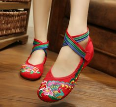 SMYXHX-10081 Colorful Peacock Embroidered Flats Cow Muscle Sole National Style Chinese Style Soft Sole Red Flat Shoes Women