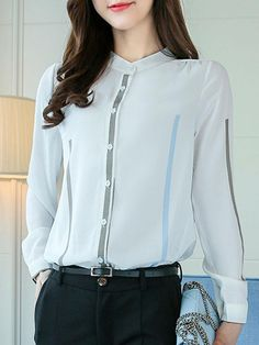 Band Collar Printed Long Sleeve T-Shirt Banded Collar Shirts, Sunday Dress, Apron Dress, Cotton Tunics, Blouse Online, Blouses For Women, Style Inspiration, Casual, T Shirt