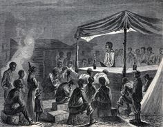 The Contraband Camp at City Point - An evening prayer meeting. Frank Leslie's Illustrated Newspaper, October 1, 1864. | In the Swan's Shadow