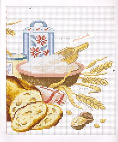 Gallery.ru / Фото #2 - 12 - ZinaidaR Cross Stitch Kitchen, Charts And Graphs, Le Point, Embroidery Stitches, Cross Stitch Patterns, Textiles, Cross Stitch Embroidery, Made By Hands, Kitchens