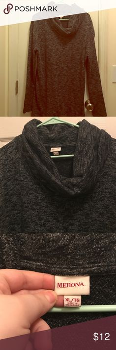 Merona/ XL/ Heather Gray/Black Cowl neck sweater Merona XL Heather Grey/Black long cowl neck sweater. Never worn but tags have been cut off. Merona Sweaters Cowl & Turtlenecks