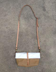 Kraft and Tyvek paper clutch roll bag with detachable shoulder strap by Belltastudio on Etsy