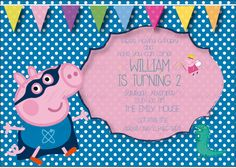 Maybe with a yellow background instead of pink.  GEORGE SUPER HERO  peppa pig  t birthday Card by birdofthemoon, $10.00