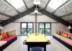 How To Transform Your Attic Into A Fun Game Room. 20 Stunning Outdoor Hangouts And Decks With A Forest View. Home and Family Transformers, Chill, Small Attics, Patio Wall, Home Office Chairs, Attic Apartment, Tiny Spaces, Master Bedroom Design, Cool House Designs