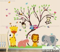 Monkey Animal Forest Tree for Nursery Kids room Art Mural Wall stencil