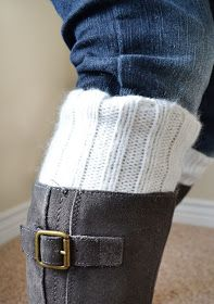 Boot cuffs from an old sweater or cheap goodwill sweater !!