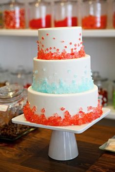 We applaud this clever use of rock candy crystals—the result is a wedding cake with a delightful straight-from-a-sweets-shoppe feel. Cake by Cocoa & Fig Rock Candy Cakes, Make Rock Candy, Pretty Cakes, Beautiful Cakes, Amazing Cakes, Beautiful Flowers, Tiny Flowers, Simply Beautiful, Paper Flowers