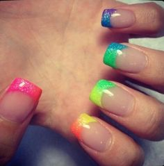 French Nails But With The Color Of Rainbow Manicure By: Love Nails, How To Do Nails, Fun Nails, Glitter Nails, Sparkly Nails, Gradient Nails, Ombre Nail, Happy Nails, Sexy Nails